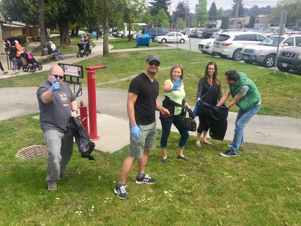 Beach clean-up in Port Moody.